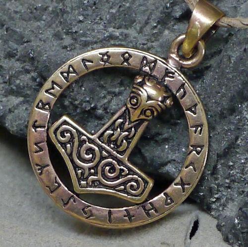 TOP Thorshammer Anhänger Thor im Runenkreis aus Bronze Runen Futhark Runenhammer