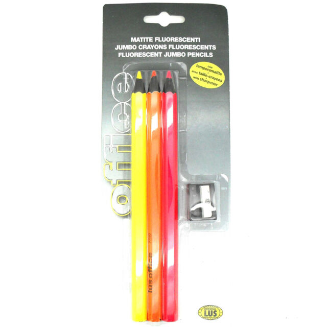 3x Mondial LUS Jumbo Neon Fluorescent Colouring Crayons Pencils & Sharpener