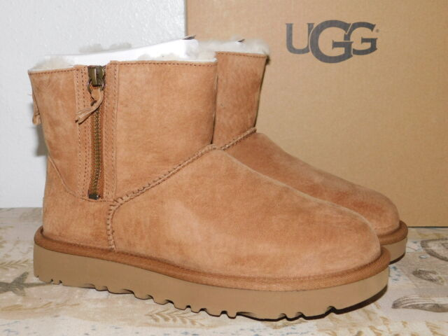 bad6d022069 NEW WOMENS 5 CHESTNUT UGG CLASSIC MINI DOUBLE ZIP SUEDE SHEEPSKIN BOOTS  1018849
