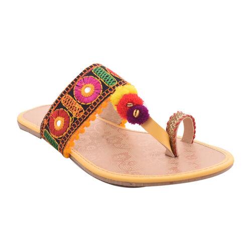 Indian Ethnic Mojari Handmade Kholapuri Designer Embroidery Women/'s Slippers