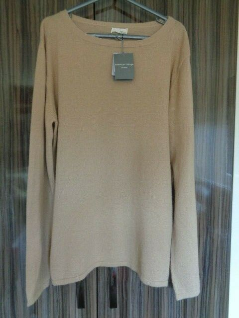 NEW MENS AMERICAN VINTAGE CAMEL LIGHTWEIGHT JUMPER 100% ANGORA SIZE XL RRP