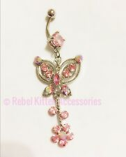 14g Sparkle Pink Butterfly Navel Belly Button Ring Piercing Body Jewelry Barbell