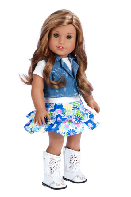 6ce79c20b Feeling Happy - 18 inch Western Doll Outfit, Jeans Vest Cowgirl Boots Skirt