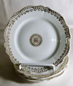 4-O-amp-E-G-Royal-Austria-Gold-Decorated-Porcelain-6-1-4-034-Bread-And-Butter-Plates