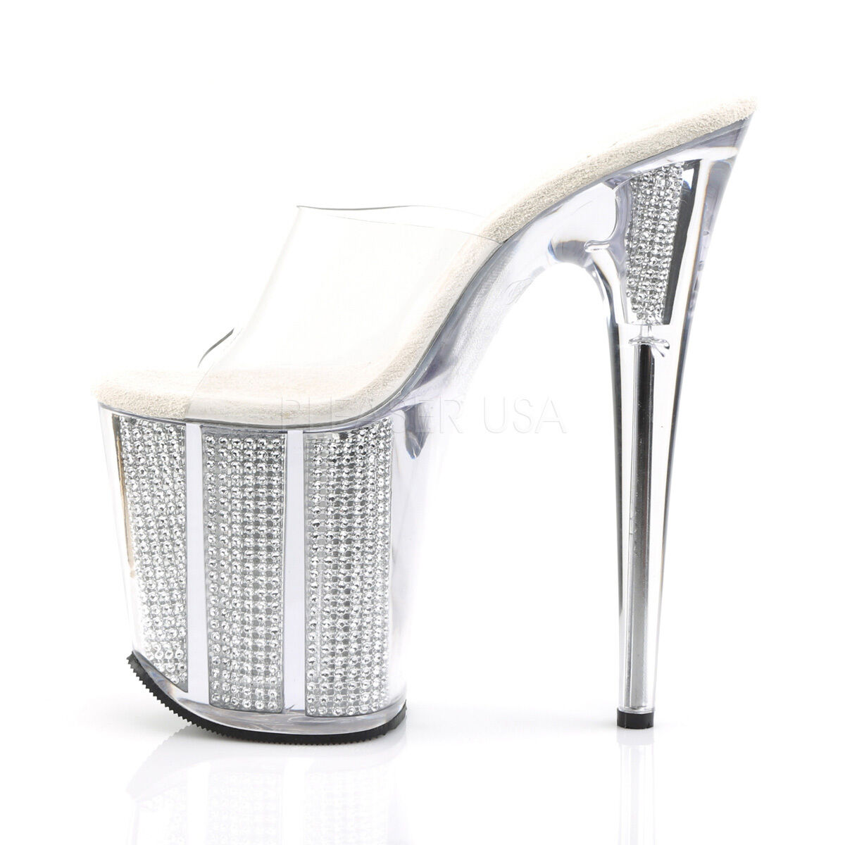 Sexy Sexy Sexy Stripper 8  High Heel shoes Silver Simulated Rhinestone Filled Platform e764a3