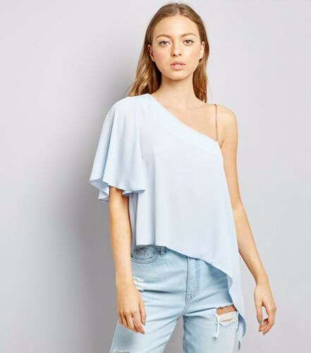 Womens pale blue one shoulder floaty top with chain strap in size 8 10 12 and 14