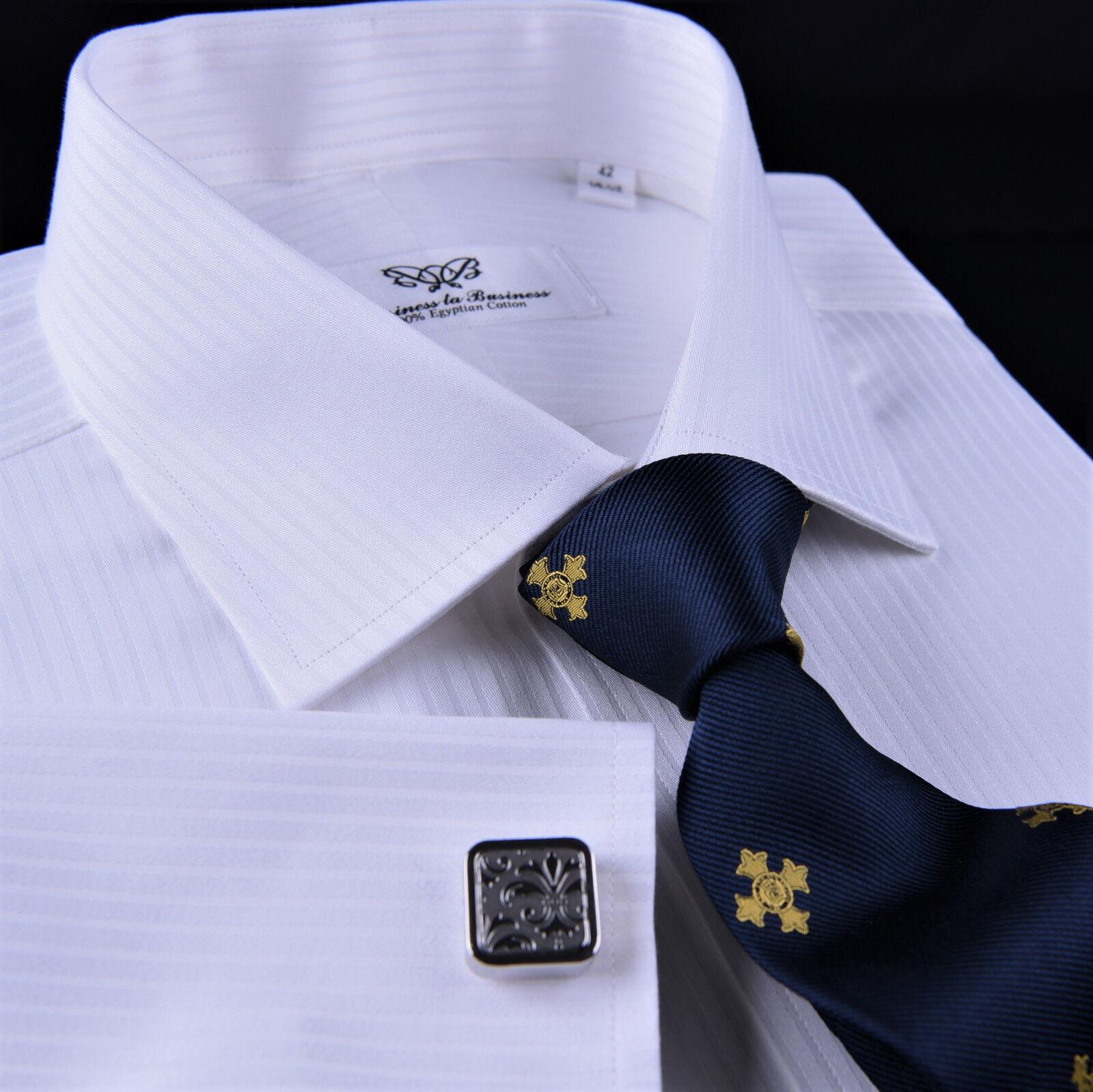 Classic Weiß Twill Striped Formal Geschäft Dress Shirt Sexy French Double Cuffs