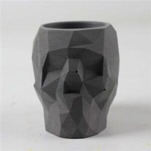 Skull-Cube-Concrete-Pot-Silicone-Mold-Planter-Flower-Cement-Vase-Craft-Hand-Make