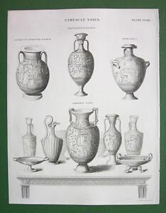 ETRUSCAN-Vases-Achilles-Hymenaeus-1842-Antique-Print-Engraving