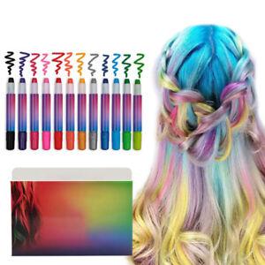 Details About Set Of 12 Hair Chalk Kids Girls Temporary Hair Colour Diy Telescopic Prime Pens
