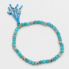 Evil Eye Beaded Bracelet Hamsa Hand Tassel TURQ GOLD Stretch Protection Jewelry