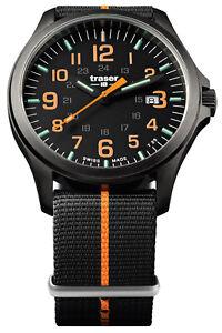Traser-H3-Men-039-s-Watch-P67-Officer-Pro-Gun-Metal-Black-Orange-107425