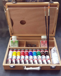 Acrylic box (10) 40ml tubes van gogh + lot + Gift bloc Acrylic 10 ho