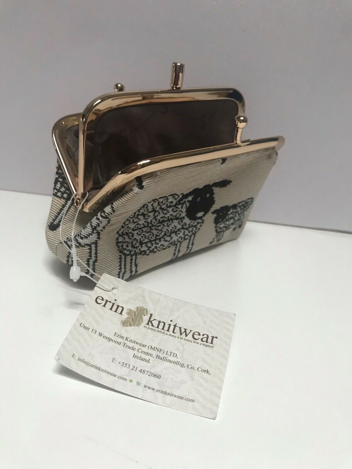Erin Knitwear 2 Compartment Tapestry Frame Coin Purse Sheep & Daisies Pattern