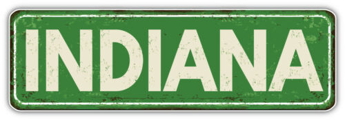 "Indiana USA State Retro Badge Car Bumper Sticker Decal /""SIZES/'/'"