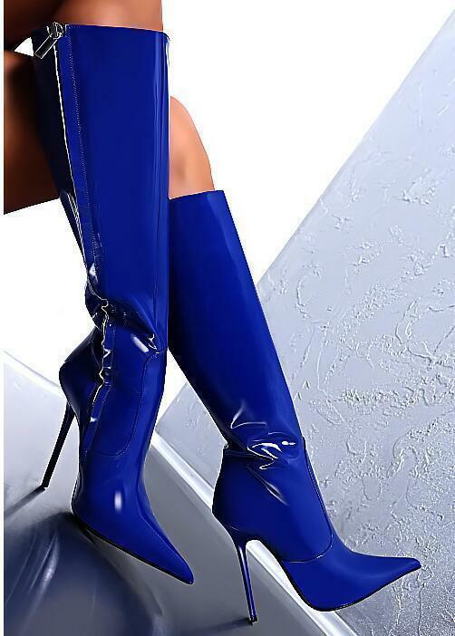 Women's Patent Leather Sexy Zip Pointed Toe High Stilettos Knee High Boots shoes