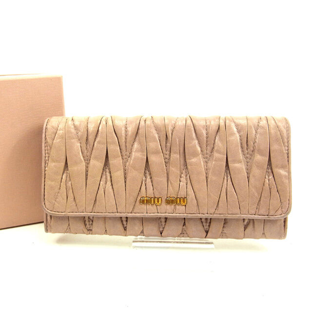 miumiu Wallet Purse Long Wallet Materasse Pink Woman Authentic Used Y4000