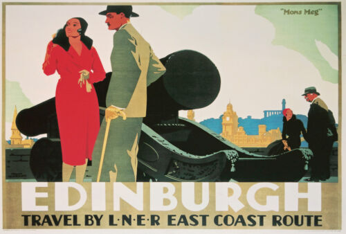 EDINBURGH Vintage Deco Railway//Travel Poster A1,A2,A3,A4 Sizes