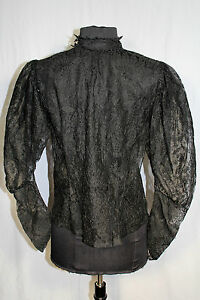 RARE-EXCEPTIONAL-FRENCH-EDWARDIAN-BLACK-COTTON-LACE-TIGHT-NECK-BLOUSE-SIZE-36-38