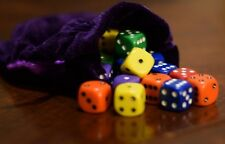 Opaque 16mm D6 Chessex Dice (30 Dice)–Red Orange Yellow Green Blue Purple + Bag