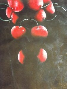 mimimal still life fruit cheries oil painting black red food original kitchen - London, London, United Kingdom - mimimal still life fruit cheries oil painting black red food original kitchen - London, London, United Kingdom