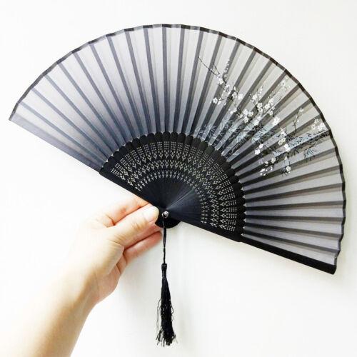 Beauty Chinese Style  Folding Hand Held Bamboo Fan Silk Plum Flower Gift#GO9