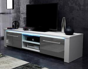Details Sur Meuble De Tele Haute Brillance Gris Et Blanc Tv Unterteil 140 Cm Board Avec Led