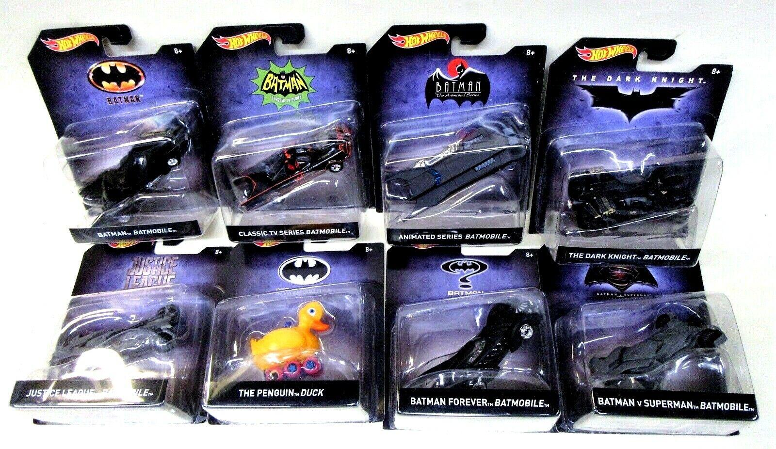 2017 Hot Wheels Batman Véhicules Set de 8 différents Diecast Comme neuf on Card dans boîte d'origine