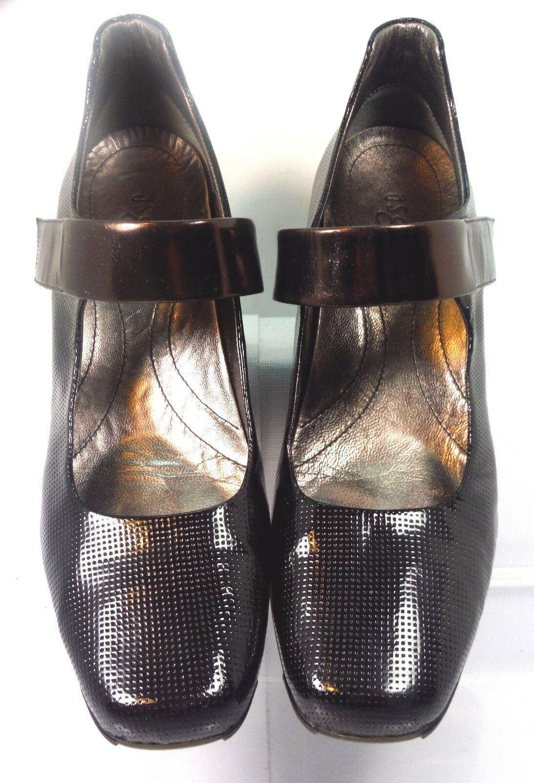 ASGI MARCY Mary-Jane Black Perforated Leather Bronze Instep Strap Women US 10