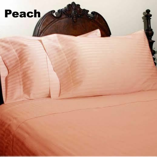 BED SKIRT PEACH STRIPED SELECT DROP LENGTH ALL US SIZE 1000 TC EGYPTIAN COTTON