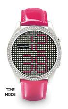Phosphor Appear Swarovski Pink Crystals Mechanical Digital Watch MD003L