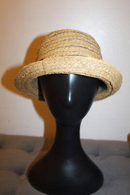 Beige Unisex Vintage Narrow Brim Fedora Trilby Hat Floppy Panama Cap Straw Hat