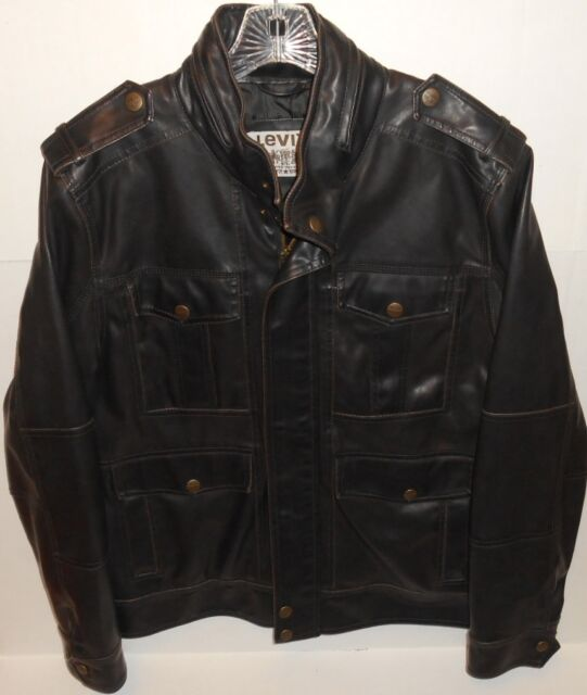 Vintage Levi's Brown Biker Hooded Zip Front Vinyl Jacket Men's Size Medium
