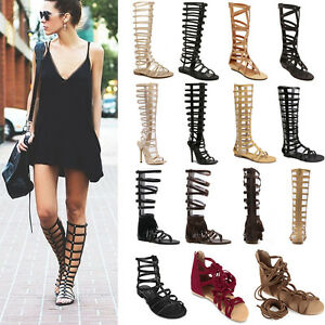 c6ae6374e1f0 Women Summer Strappy Gladiator Cut Out Sandals Knee High Boots Flat ...