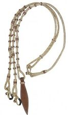 Braided Natural Rawhide Romal Reins w/ Tooled Leather Poppers! NEW HORSE TACK!