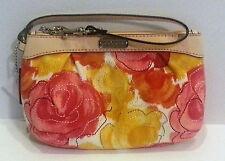 Coach NWT Ashley Pleated Medium Wristlet Multicolor Floral Print wallet F49136