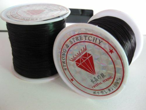 Black Beading Cord Strong Stretchy 0.5mm 80 Meters Roll