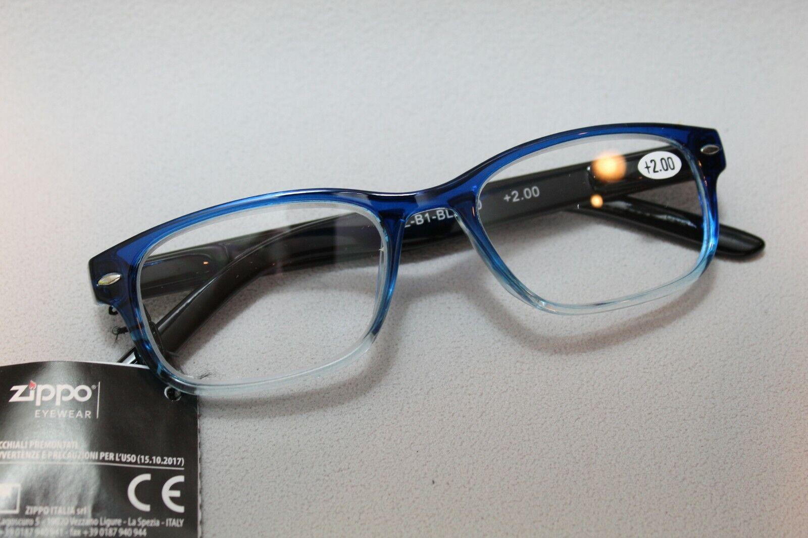 orig ZIPPO LESEHILFE LESEBRILLE - 2.00 - Retro blue - NEU - 706373
