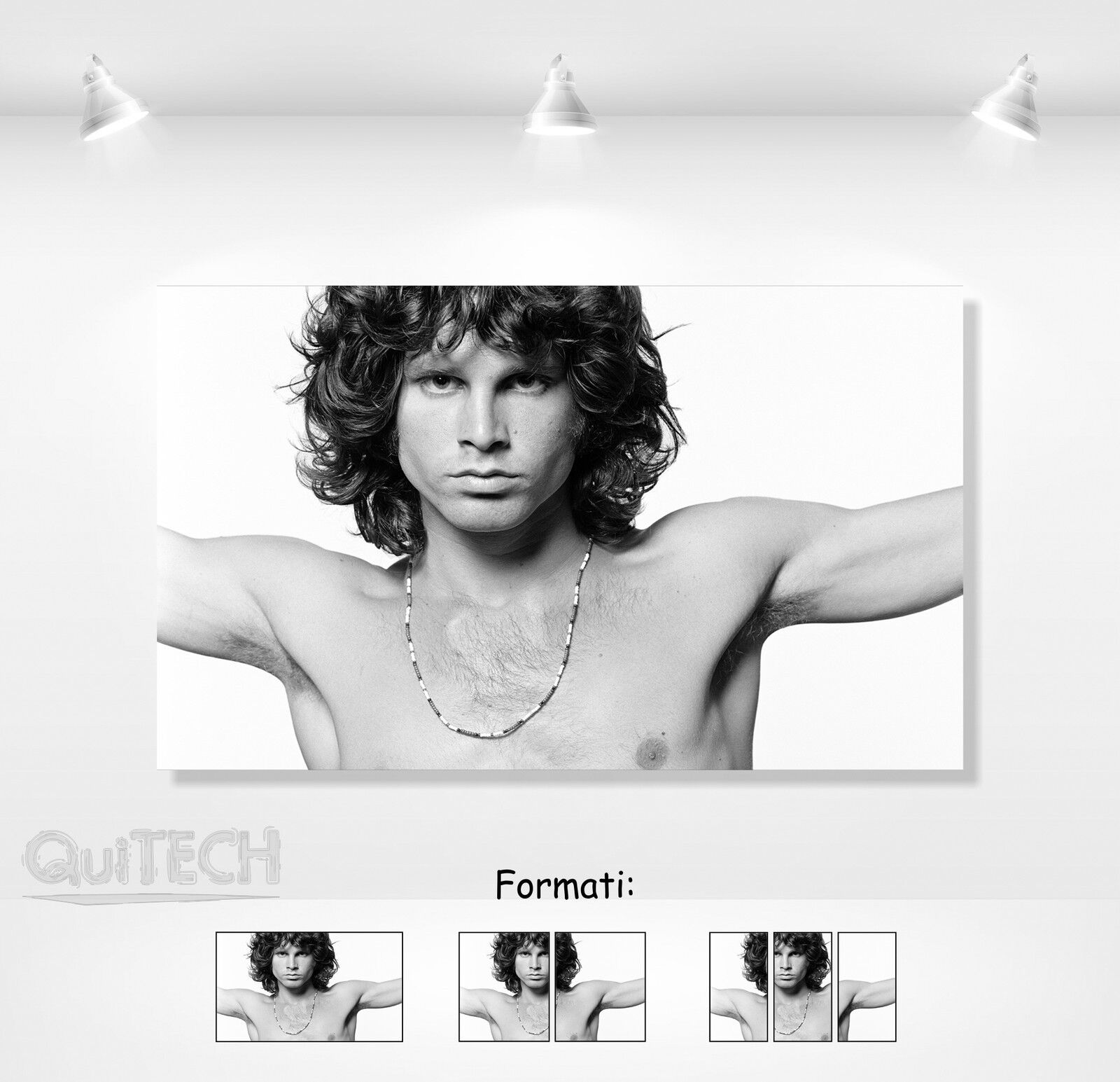 Jim Morrison - 1 - Quadro stampa su Tela Pelle Canvas Dipinto Arte Moderna
