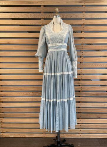 1970s Blue Gunne Sax Prairie dress - Size 9