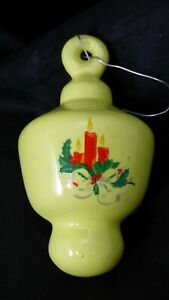 Vintage-Ceramic-Merry-Christmas-Candle-Holly-Berry-Ornament-Hand-Painted-Yellow