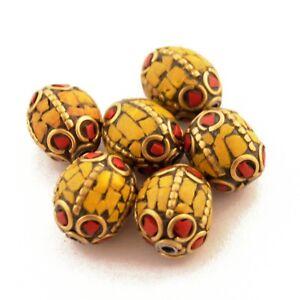 Coral-Yellow-Howlite-Brass-6-Beads-Tibetan-Nepalese-Ethnic-Handmade-Nepal-UB24