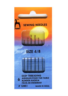 Pony Easy Thread Gold Eye Needles Size 4// 8 Pack Craft Hand Sewing FREE P/&P