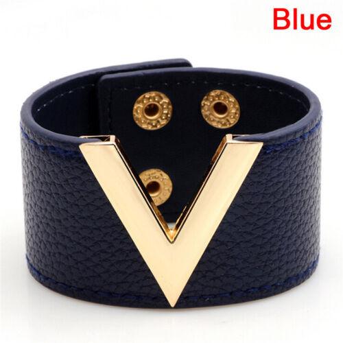 Wide V Leather Bracelet Bangle Punk Cuff Bracelet Wrap Wristband Jewelry YJ
