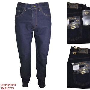 Dettagli su wampum jeans da uomo elasticizzato blu regular fit pantaloni vita alta dritti 48