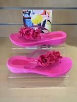 Womens Flip Flops Size 3 4 5 6 7 8 Summer Flowers Toe Post Pink or Black Slip On