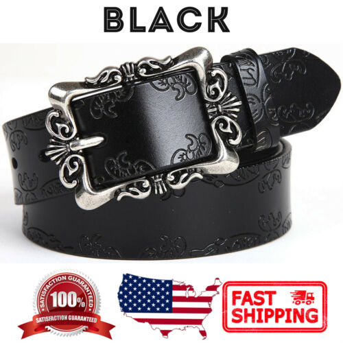 Women/'s Vintage Floral Buckle Handcrafted Genuine Leather Belt