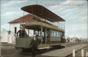 Coronado-Tent-City-CA-Double-Deck-Car-c1910-Postcard-Trolley