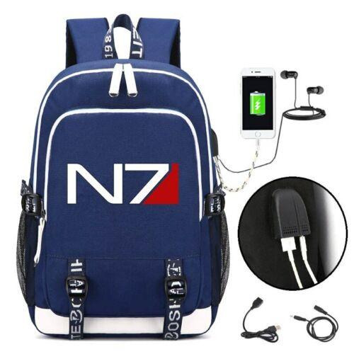 Game MASS EFFECT USB Backpack School Bookbag Knapsack Laptop Travel Shoulder Bag