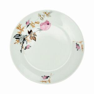 6-Pieces-Assiettes-De-Dessert-En-Porcelaine-Ronde-Blanc-Fleur-Rose-Seche-19cm